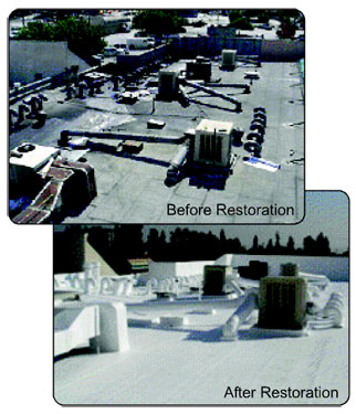 Before and after roof coating restoration