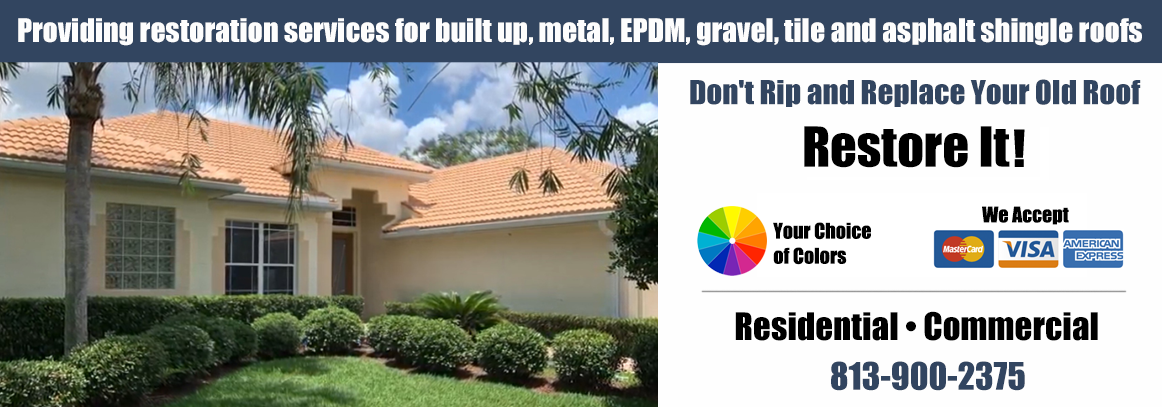Providing restoration services for built up, metal, EPDM, gravel, tile and asphalt shingle roofs
